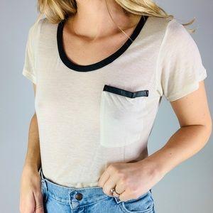 ☕️CLUB MONACO Cream Wool Scoop Neck Tee Shirt S